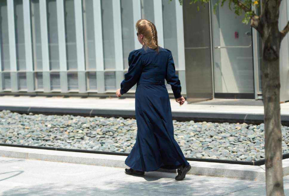 Rick Egan  |  The Salt Lake Tribune  One of Lyle Jeffs neices, Roxanne Jeffs, leaves the courthouse after Jeffs, arraignment at the federal court house, Monday, July 10, 2017.