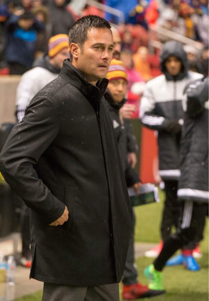 Rick Egan  |  The Salt Lake Tribune  Real Salt Lake head coach Mike Petke, in RSL action at Rio Tinto Stadium, Saturday, April 8, 2017.