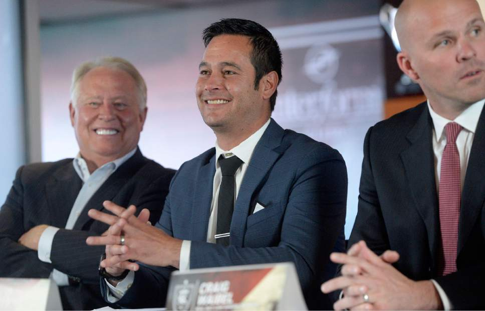 Al Hartmann  |  The Salt Lake Tribune Real Salt Lake team owner Dell Loy Hansen, new head coach Mike Petke, and General Manager Craig Waibel at news conference Wednesday March 29 at Rio Tinto Stadium.
