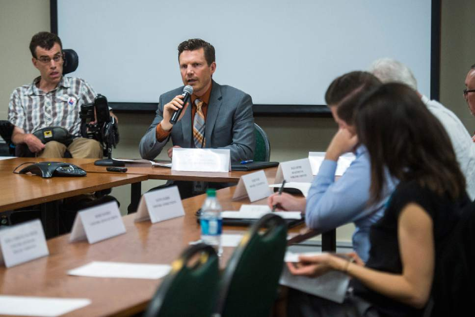 Chris Detrick  |  The Salt Lake Tribune   Nate Checketts, Deputy Director Utah Deparment of Health, speaks during a state Health Department public meeting at the Cannon Health Building Thursday, June 22, 2017.