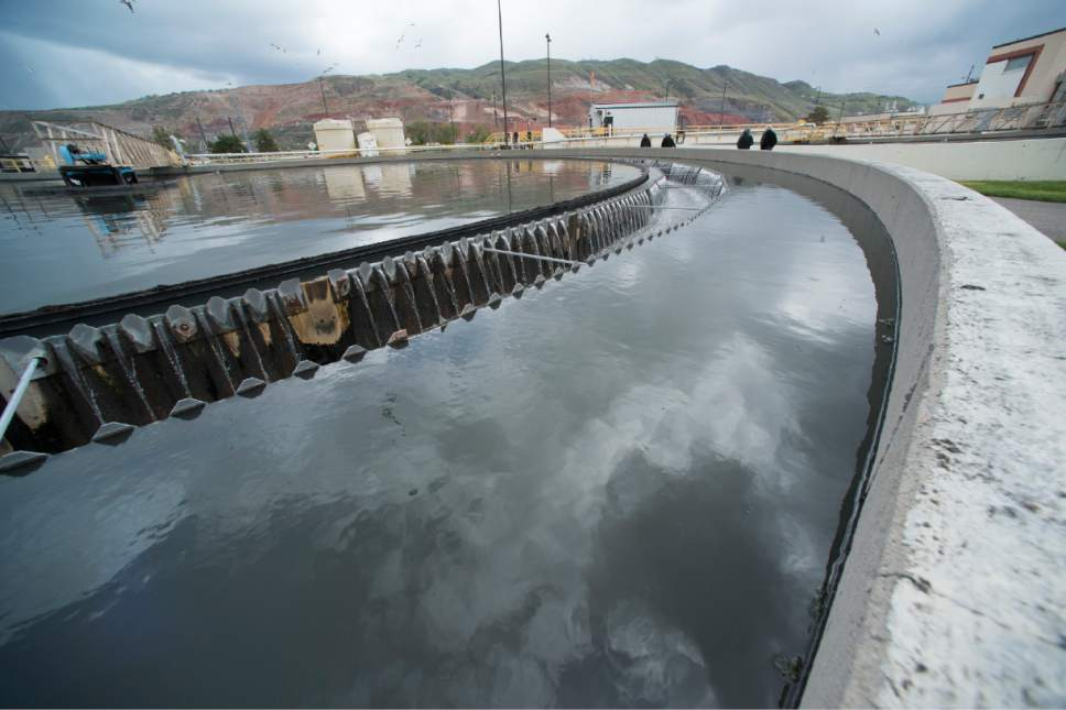 Rick Egan  |   Tribune file photo  Primary Clarifier at the Wastewater Treatment Plant, located at 1300 West 2300 North in Salt Lake City, Thursday, April 27, 2017. Many Utah cities are using enterprise funds -- those comprised of user fees for utilities such as water and sewer -- to bolster their general fund budgets.