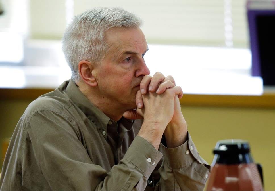 Steven Powell sits in a Pierce County Superior courtroom, Monday, July 13, 2015, in Tacoma, Wash., shortly after he was found guilty of possessing child pornography. Powell is the father of Josh Powell, who killed his two sons and himself in February 2012 while under investigation for the 2009 disappearance of his wife in Utah. (AP Photo/Ted S. Warren)