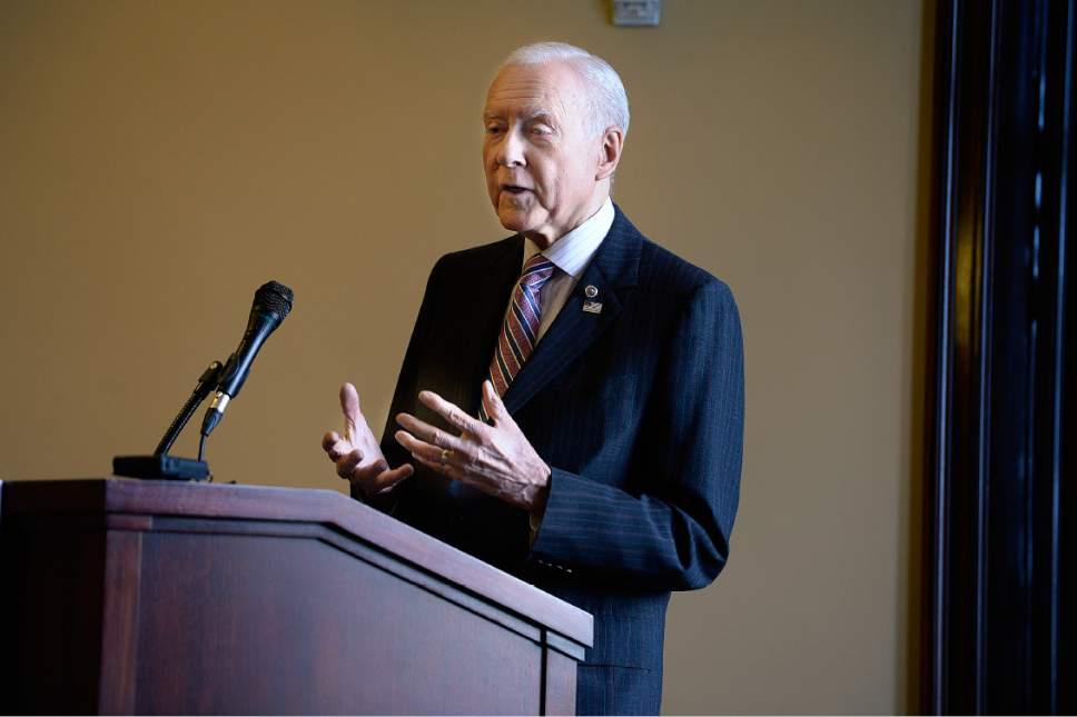 Scott Sommerdorf   |  The Salt Lake Tribune   Sen. Orrin Hatch, R-Utah, speaks at the FWD.us Utah Coalition Launch event taking place today at the Utah State Capitol, Thursday, July 6, 2017.