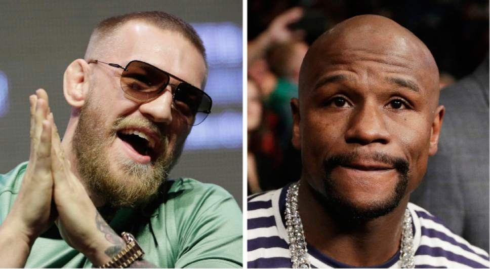 FILE - At left, in a July 7, 2016, file photo, Conor McGregor speaks during a UFC 202 mixed martial arts news conference, in Las Vegas. At right, in a Jan. 28, 2017, file photo, boxer Floyd Mayweather Jr. attends a fight in Las Vegas. It's still early, but give Round 1 of the trash talk battle between McGregor and Mayweather Jr. to the Irish MMA star. (AP Photo/John Locher, File)