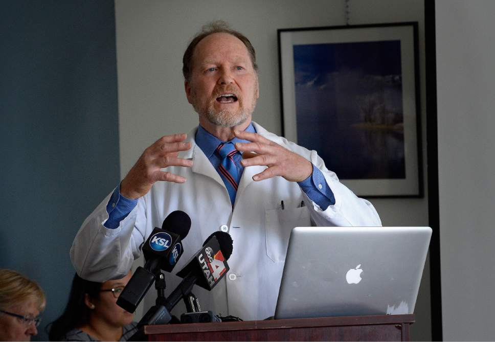 Scott Sommerdorf   |  The Salt Lake Tribune   UPHE Board President, Dr. Brian Moench, speaks at a press conference, Wednesday, July 12, 2017.  A study published in The New England Journal of Medicine, one of the largest studies of its kind to date involving 61 million people throughout the United States, strengthens the association between premature death and PM2.5 and ozone.