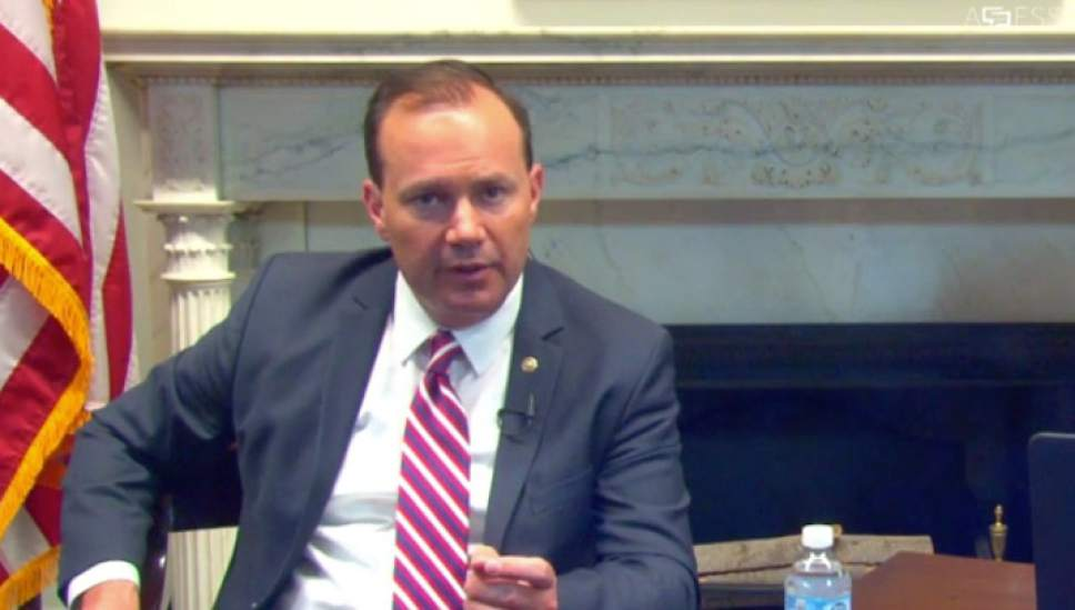 A screen grab of Senator Mike Lee's online town hall about the health care on Wednesday July 12, 2017.