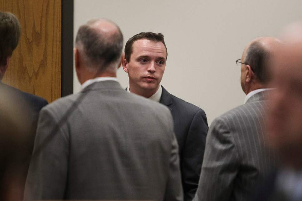 Ian Maule  |  Pool   Conrad Truman walks out of a courtroom at 4th District Court in Provo after being found guilty of murder and obstruction of justice in the 2012 death of his wife, Heidy Truman, on Wednesday, Oct. 22, 2014.