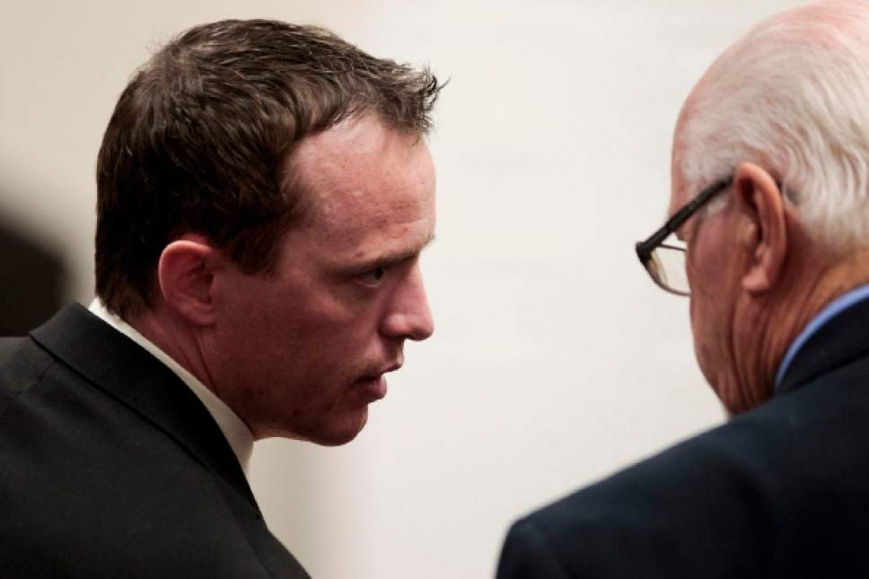 (Spencer Heaps  |  Pool file photo)  Conrad Truman, left, appears at the 4th District Court in Provo on Thursday, Oct. 9, 2014.  Truman has been charged with murder and obstruction of justice in the 2012 death of his wife, Heidy Truman.
