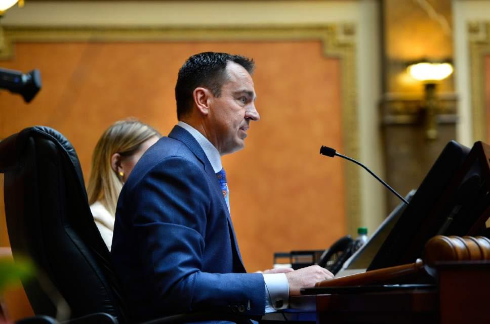 Scott Sommerdorf      The Salt Lake Tribune Speaker of the House, Greg Hughes, R-Draper, in the Utah House of Representatives, Wednesday, January 28, 2015.