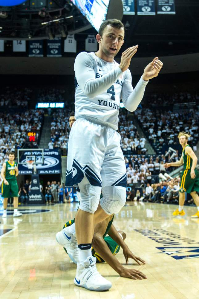 Chris Detrick  |  The Salt Lake Tribune Brigham Young Cougars guard Nick Emery (4) claps during the game at the Marriott Center Thursday January 12, 2017.