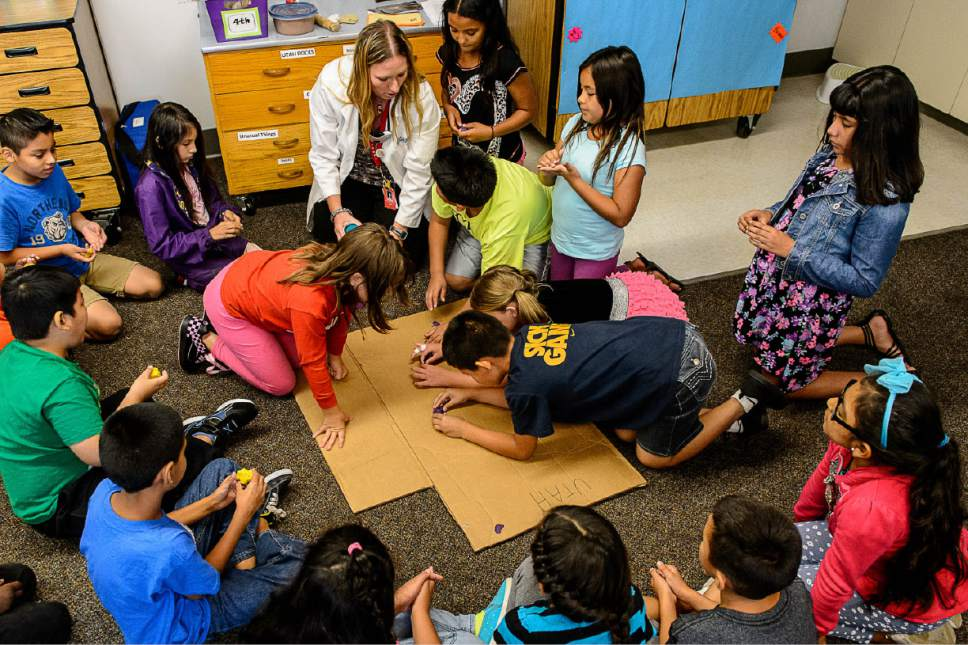 Trent Nelson  |  The Salt Lake Tribune Cara Baldree, a teacher at Lincoln Elementary School in Salt Lake City, teaches science to fourth-graders. The stateschool board  is looking for a replacement for its SAGE test.