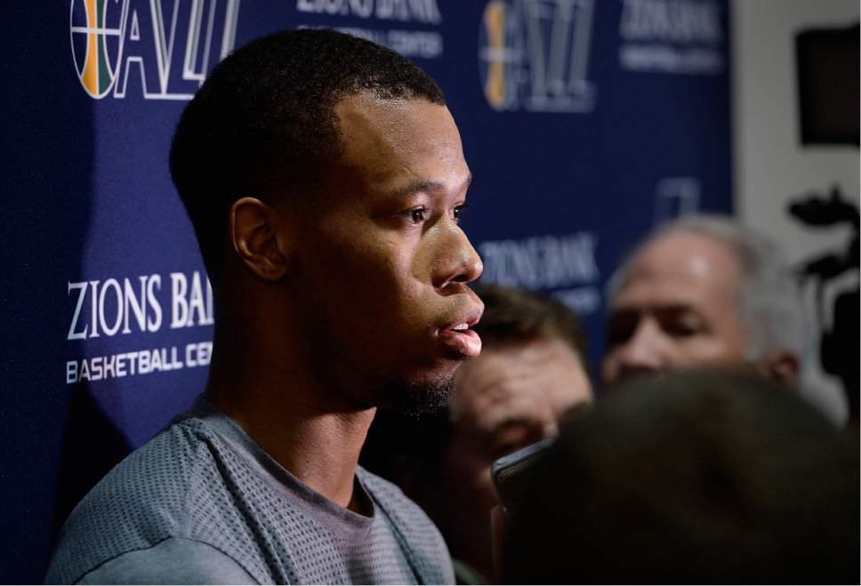 Scott Sommerdorf | The Salt Lake Tribune Rodney Hood speaks at the Jazz practice facility, Thursday, April 27, 2017.