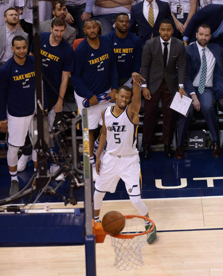 Leah Hogsten     The Salt Lake Tribune  Utah Jazz guard Rodney Hood (5) grimaces as he misses the shot. The Utah Jazz trail the Los Angeles Clippers 59-62 in the third quarter during Game 6 at Vivint Smart Home Arena, Friday, April 28, 2017 during the NBA's first-round playoff series.