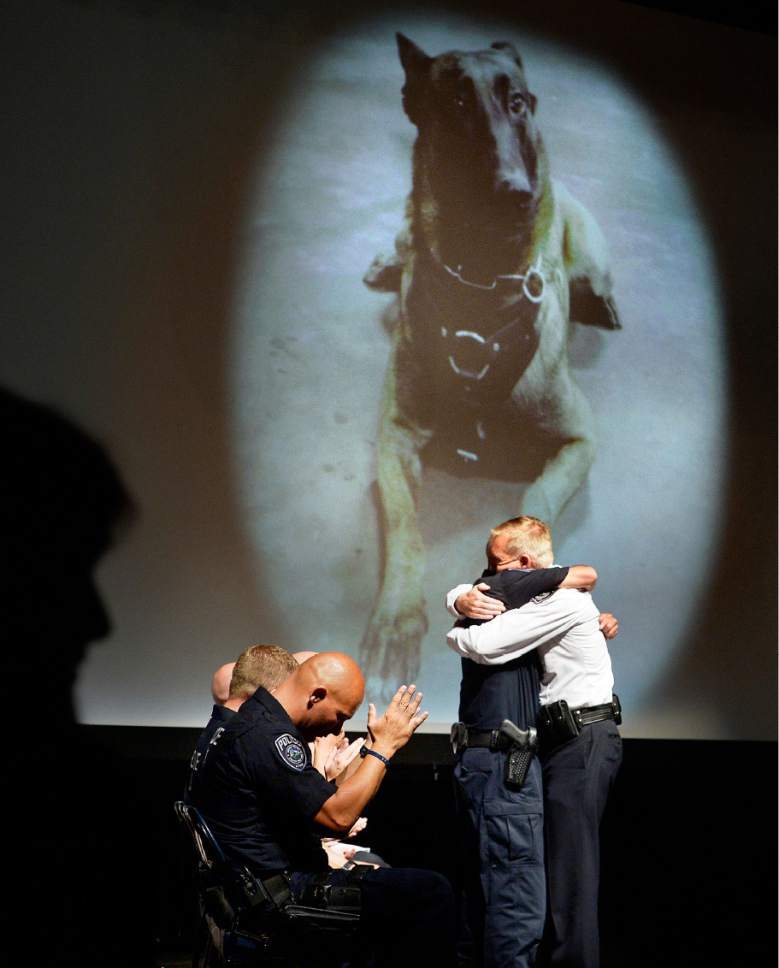 """Scott Sommerdorf      The Salt Lake Tribune   Sgt. Chad Reyes, left, hugs Sheriff Jim Winder after Winder promoted him to Lieutenant at the memorial service for """"Dingo,"""" a Unified Police Department dog shot and killed in the line of duty July 6 while working with his K-9 handler Reyes."""