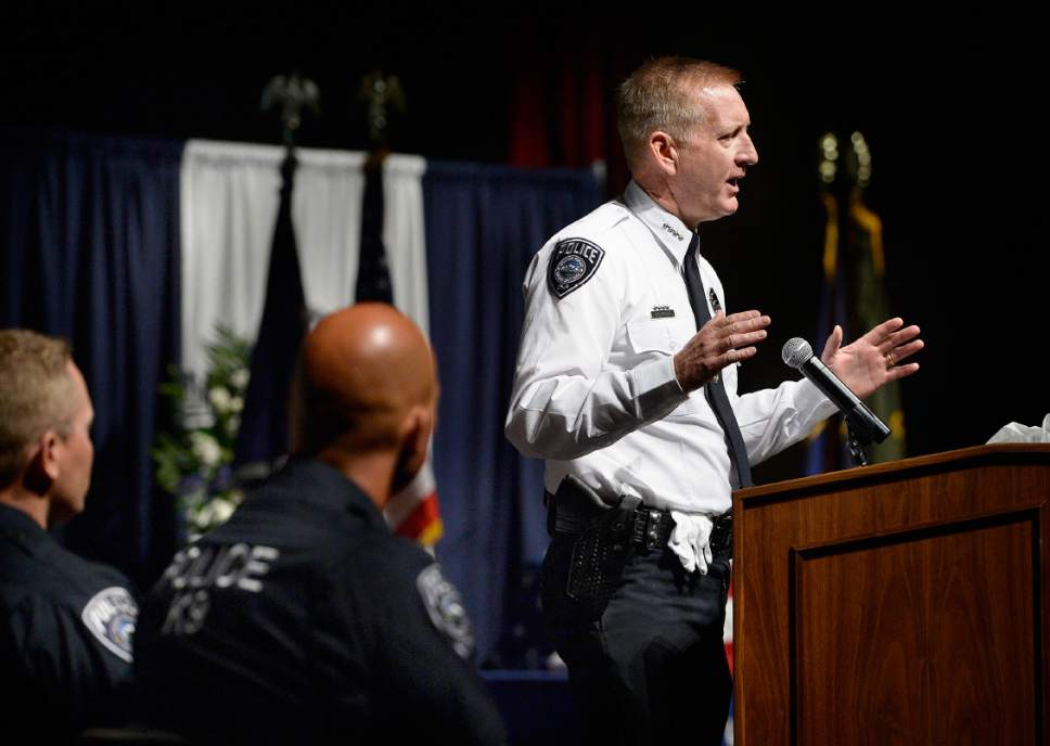 """Scott Sommerdorf      The Salt Lake Tribune   Sheriff Jim Winder speaks during the memorial service for """"Dingo,"""" a Unified Police Department dog shot and killed in the line of duty July 6 while working with his K-9 handler Sgt. Chad Reyes, Saturday, July 15, 2017."""