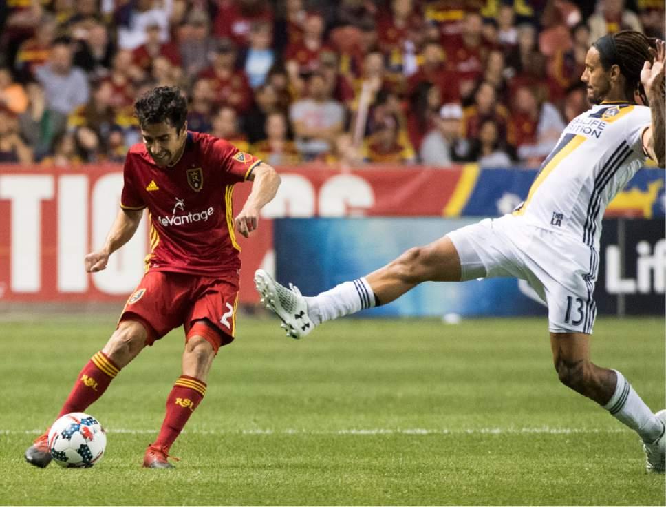 Rick Egan  |  The Salt Lake Tribune  Real Salt Lake defender Tony Beltran (2) kicks the ball, as Los Angeles Galaxy midfielder Jermaine Jones (13) defends, in MLS action Real Salt Lake vs. Los Angeles Galaxy at Rio Tinto Stadium, Saturday, March 18, 2017.
