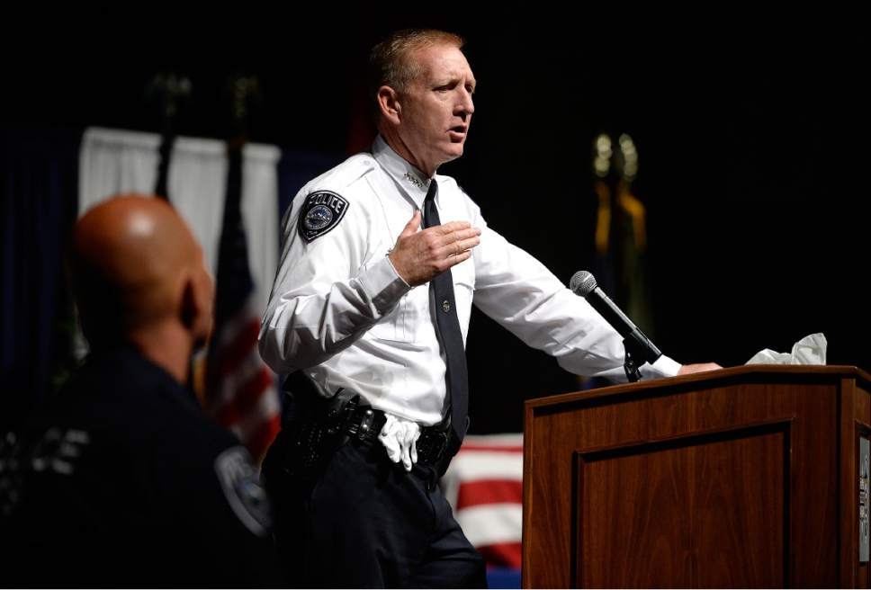 "Scott Sommerdorf   |  The Salt Lake Tribune   Sheriff Jim Winder speaks during the memorial service for ""Dingo,"" a Unified Police Department dog shot and killed in the line of duty July 6 while working with his K-9 handler Sgt. Chad Reyes, Saturday, July 15, 2017."