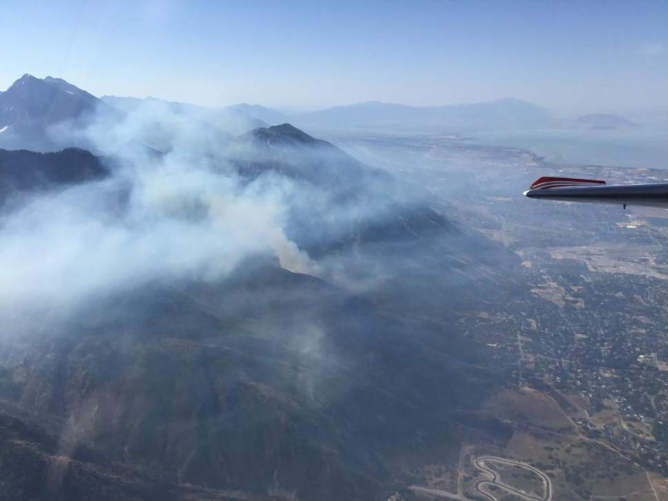 Aerial view of the Water Tower wildfire in Alpine on July 16, 2017.   Courtesy | Uinta-Wasatch-Cache Forest Service