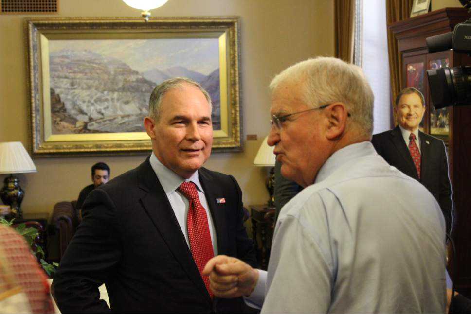 |  Courtesy  Scott Pruitt, the EPA administrator, during a brief visit to Utah on Tuesday, July 18, 2017.
