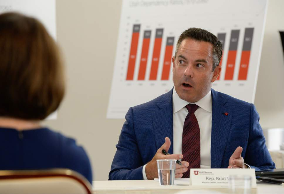 Francisco Kjolseth | The Salt Lake Tribune Rep. Brad Wilson joins the discussion as the University of Utah's Kem C. Gardner Policy Institute releases long-term growth projections for Utah's counties during a panel discussion on Monday, July 17, 2017. Utah County is projected to be as large as Salt Lake County by 2065.
