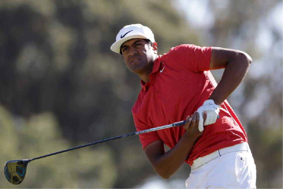 Gregory Bull     Associated Press file photo Tony Finau, at last season's Farmers Insurance Open, shot a 7-under 65 Friday to share the lead of the Valero Texas Open after two rounds.