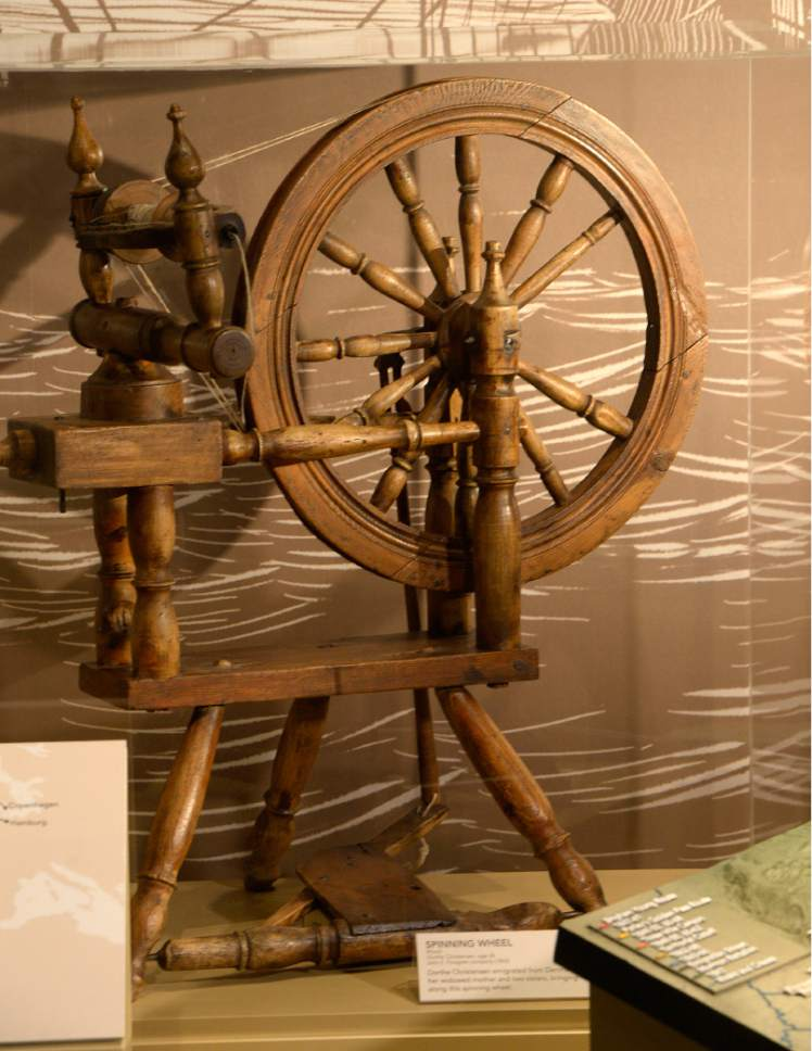 """Al Hartmann     The Salt Lake Tribune Spinning wheel of Dorthe Christensen, brought from Denmark to Utah in 1853.   It's one of many historical items in """"Mormon Trails: Pathways to Zion,""""  a new exhibit at the LDS Church History Museum that opens Thursday, July 13."""