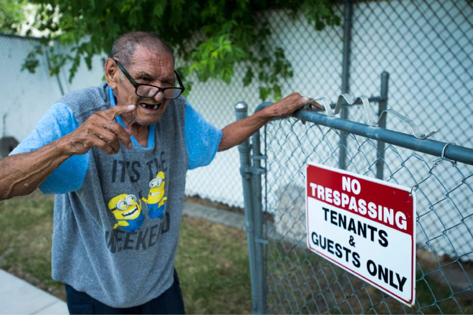 Rick Egan  |  The Salt Lake Tribune  Juan Linares talks about how he used to sleep outside during the hot summer months, because of the heat in his South Salt Lake apartment. Friday, July 14, 2017.