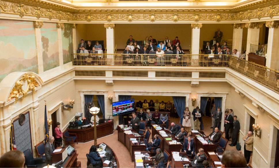 Rick Egan  | Tribune file photo State Sen. Mark Madsen, R-Saratoga Springs, sponsor of the medical marijuana bill SB73 discussed his bill on the floor of the Utah Senate in February 2016.