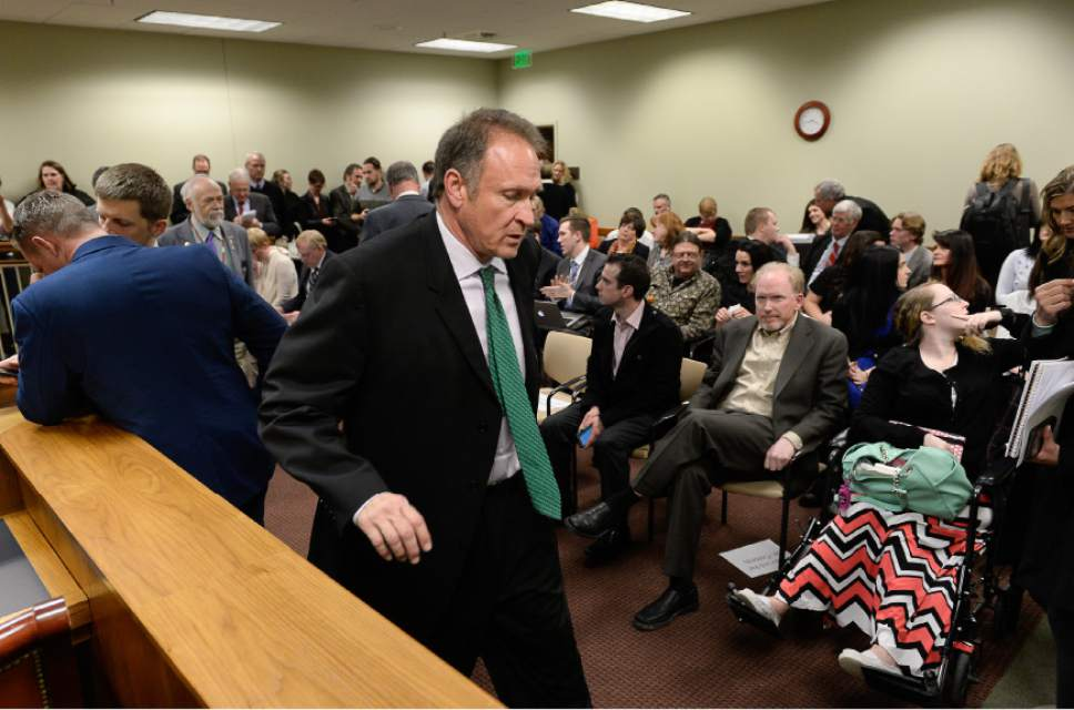 Francisco Kjolseth | Tribune file photo State Sen. Mark Madsen, R-Saratoga Springs, sponsor of the medical marijuana bill SB73 in 2016 faces a packed room with those expressing interest in the hearing at the Utah Capitol.
