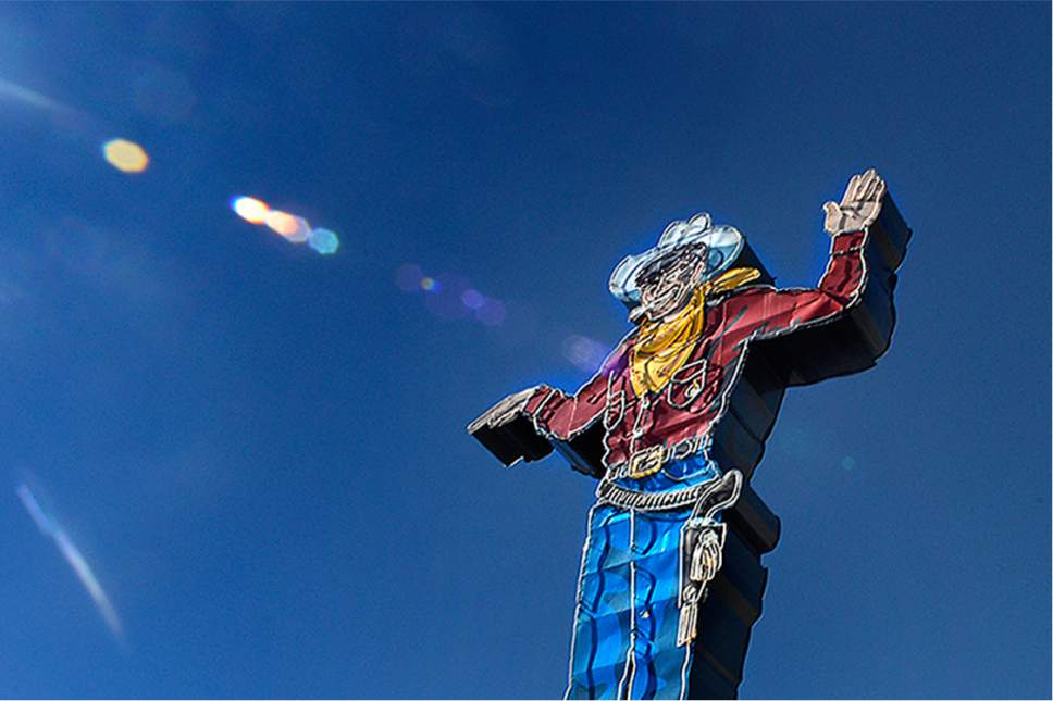 Scott Sommerdorf   |  The Salt Lake Tribune   Wendover Will, the neon smoking cowboy statue guarding the entrance to west Wendover, Monday, October 24, 2016.