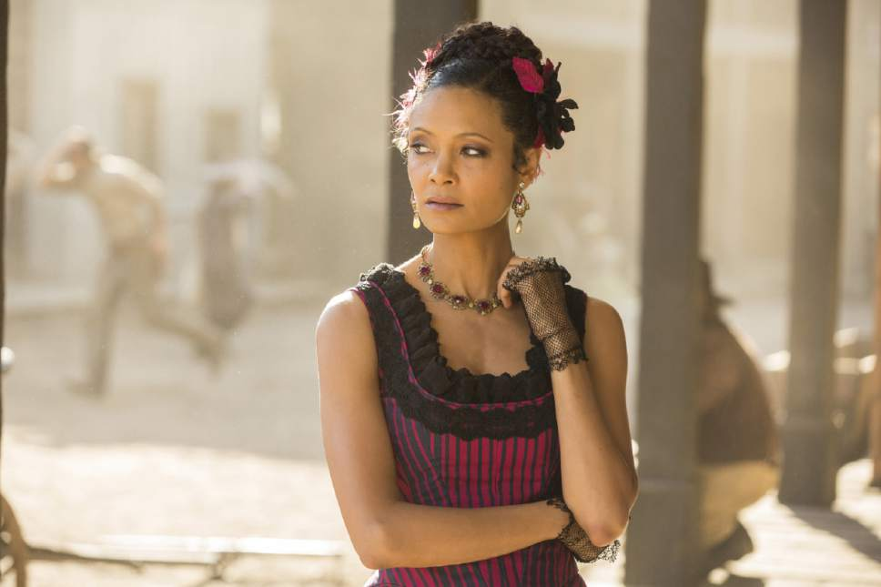 """This image released by HBO shows Thandie Newton in a scene from, """"Westworld."""" Newton was nominated for an Emmy Award for outstanding supporting actress in a drama series on Thursday, July 13, 2017. The Emmy Awards ceremony, airing Sept. 17 on CBS, will be hosted by Stephen Colbert. (John P. Johnson/HBO via AP)"""