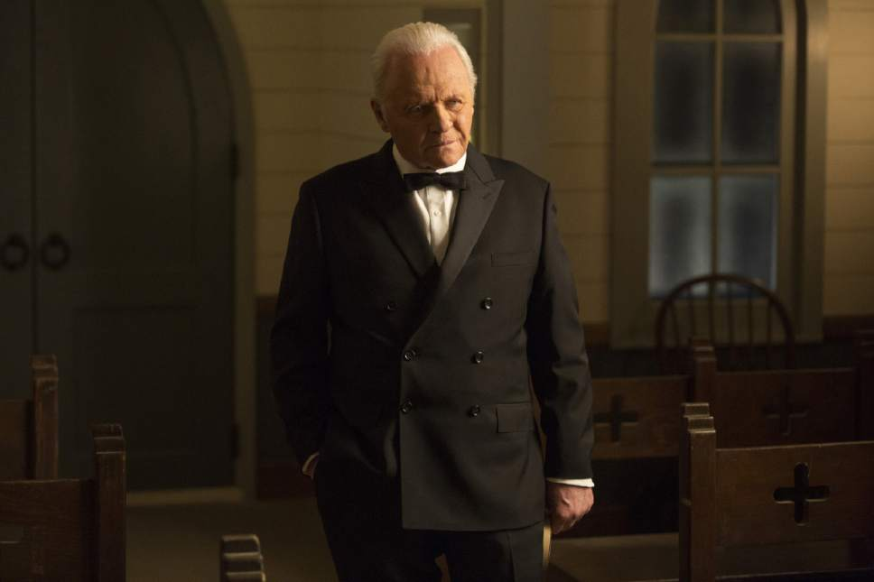 """This image released by HBO shows Anthony Hopkins in a scene from """"Westworld."""" Hopkins was nominated for an Emmy Award for outstanding lead actor in a drama series on Thursday, July 13, 2017. The Emmy Awards ceremony, airing Sept. 17 on CBS, will be hosted by Stephen Colbert.  (HBO via AP)"""