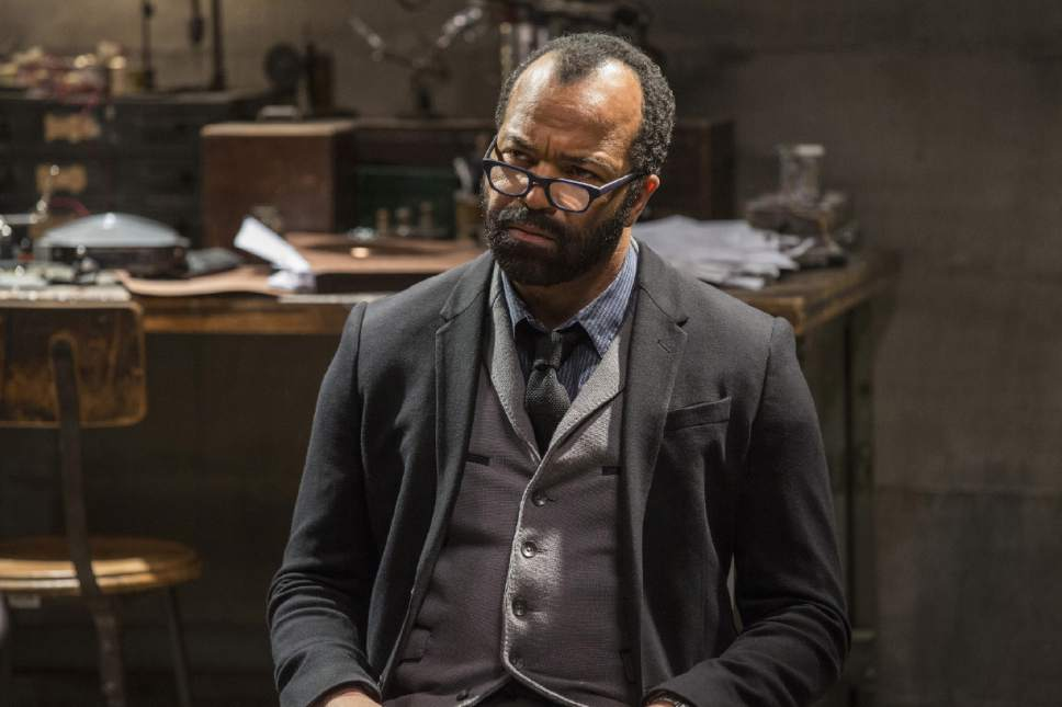 """This image released by HBO shows Jeffrey Wright in a scene from, """"Westworld.""""  Wright was nominated for an Emmy Award for outstanding supporting actor in a drama series on Thursday, July 13, 2017. The Emmy Awards ceremony, airing Sept. 17 on CBS, will be hosted by Stephen Colbert. (John P. Johnson/HBO via AP)"""