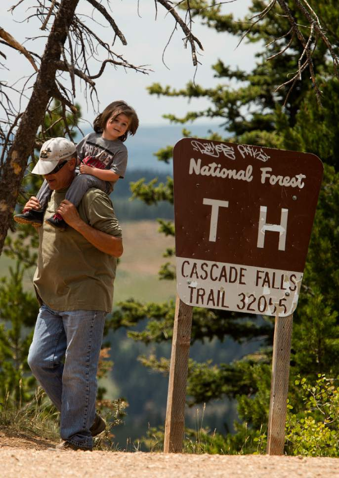 Leah Hogsten     The Salt Lake Tribune Cascade Falls trailhead is about 8910 feet elevation on Cedar Mountain and leads hikers on an easy, .9-mile to Cascade Falls, which is fed by Navajo Lake. The trail provides views of Kolob Terrace and Zion National Park.