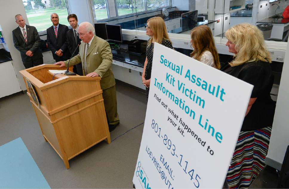 Francisco Kjolseth | The Salt Lake Tribune The Sexual Assault Kit Initiative (SAKI) group and the new information line are introduced for the first time to the public at a press conference on July 19, 2017 at the DPS Crime Lab in Taylorsville. The Commission on Criminal and Juvenile Justice (CCJJ) and the Utah Department of Public Safety (DPS) have established a group dedicated to pursuing justice for victims of sexual assault. That group includes a new victim advocate who will be the point of contact for victims seeking resources and the status of their sexual assault kit. A new information line has been set up for victims to connect directly to a victim advocate.
