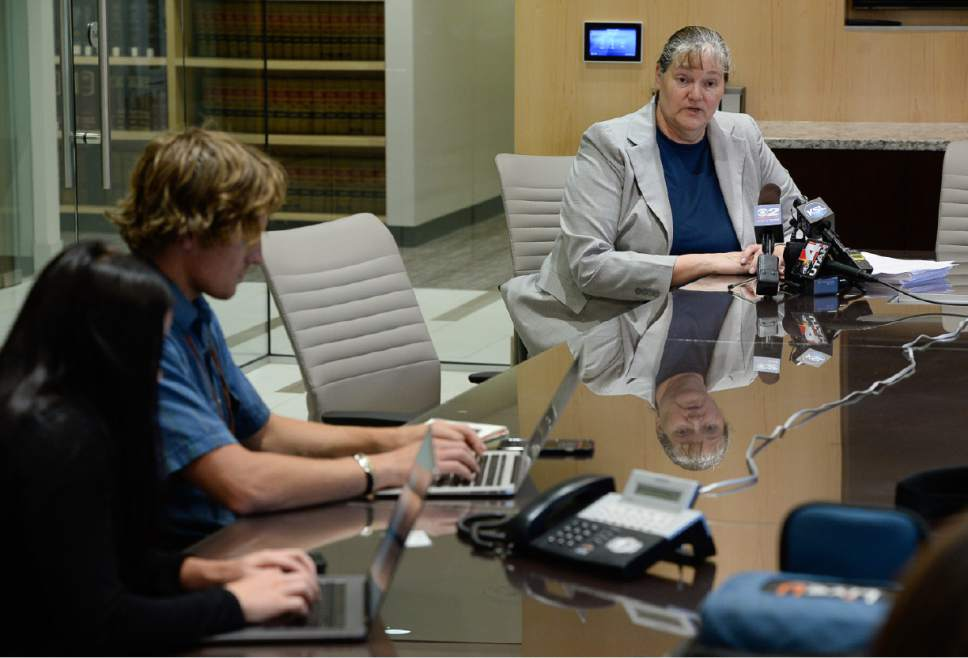Francisco Kjolseth | The Salt Lake Tribune Attorney Mary Corporon, representing the family of Salt Lake County Recorder Gary Ott holds a press conference in Salt Lake City on Thursday, July 20, 2017, to announce their request for a court to approve Ott's resignation from office, effective Aug. 1. Ott is currently in an undisclosed medical facility.