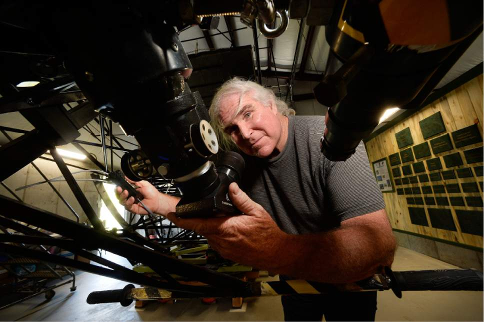 Scott Sommerdorf   |  The Salt Lake Tribune   Mike Clements with the 70 inch telescope he built in 2013 now housed at the Stansbury Park Observatory Complex, Friday, July 21, 2017. He believes it might be the largest amateur telescope in the world.
