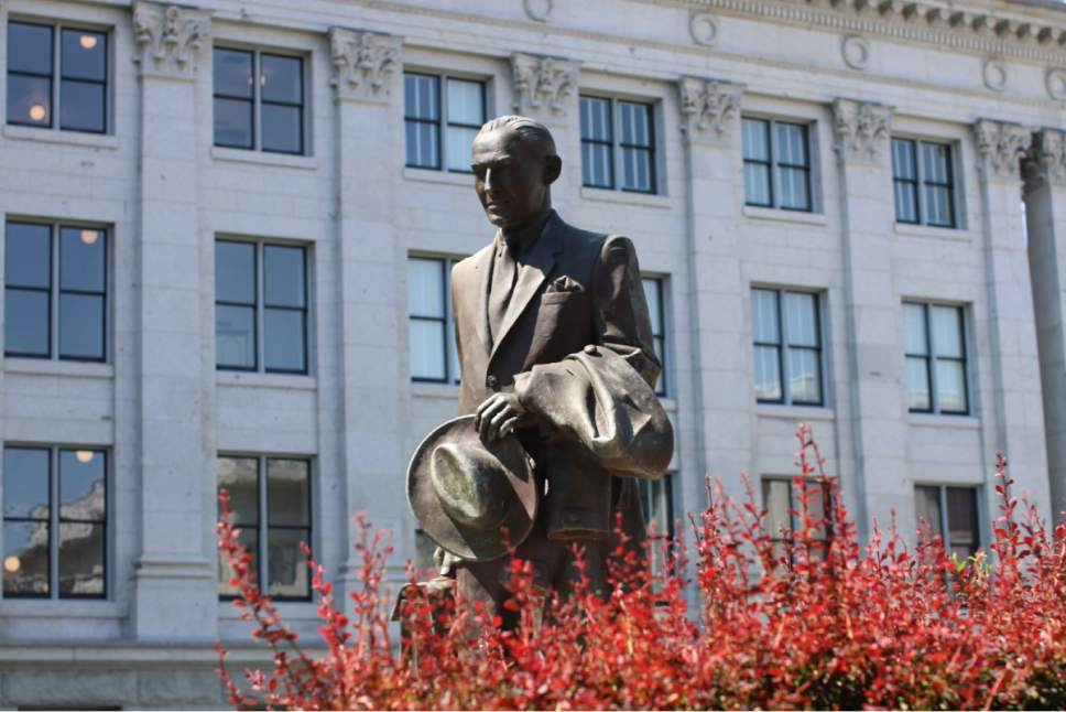 |  Courtesy University of Utah   A statue of former Federal Reserve Chairman Marriner Eccles, hat in hand and a jacked draped over his arm, adorns the grounds of the state Capitol in Salt Lake City.