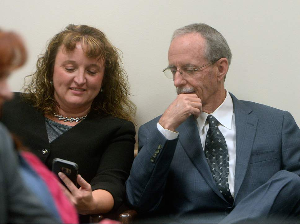 Al Hartmann  |  Tribune file photo  Salt Lake County County Recorder Gary Ott sits with his chief deputy, Julie Dole before the Salt Lake County Council is to present findings of the county auditor's performance review Tuesday, Oct. 4., 2016. A week later, the Salt Lake County Republican Party censured Dole, accusing her of hiding Ott's health status.