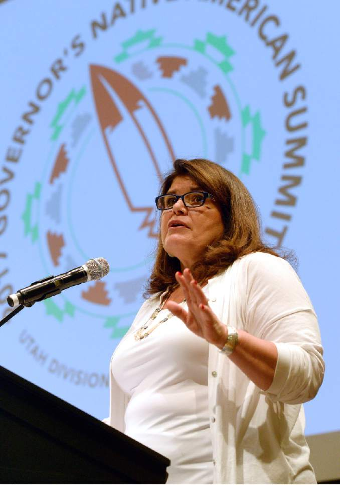 Al Hartmann     The Salt Lake Tribune Jackie Pata, executive director of the National Congress of American Indians, gives keynote address at the 2017 Governor's Native American Summit at Utah Valley University in Orem on Thursday, July 20, 2017. Native Americans from eight Utah tribes gathered to discuss educational and economic success, strengthening family relationships and celebrating native culture.