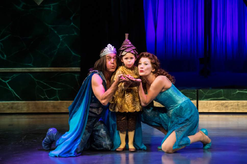 Karl Hugh  |  Utah Shakespeare Festival  J. Todd Adams (left) as Oberon, Jane Stavros as Changling Child, and Melinda Parrett as Titania in the Utah Shakespeare Festival's 2017 production of A Midsummer Night's Dream.