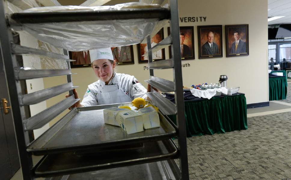 Francisco Kjolseth | The Salt Lake Tribune One delivery down another to go, UVU culinary student Madeline Black takes the service elevator at Utah Valley University after setting up food for an event as part of the school's student run restaurant called Restaurant Forte.