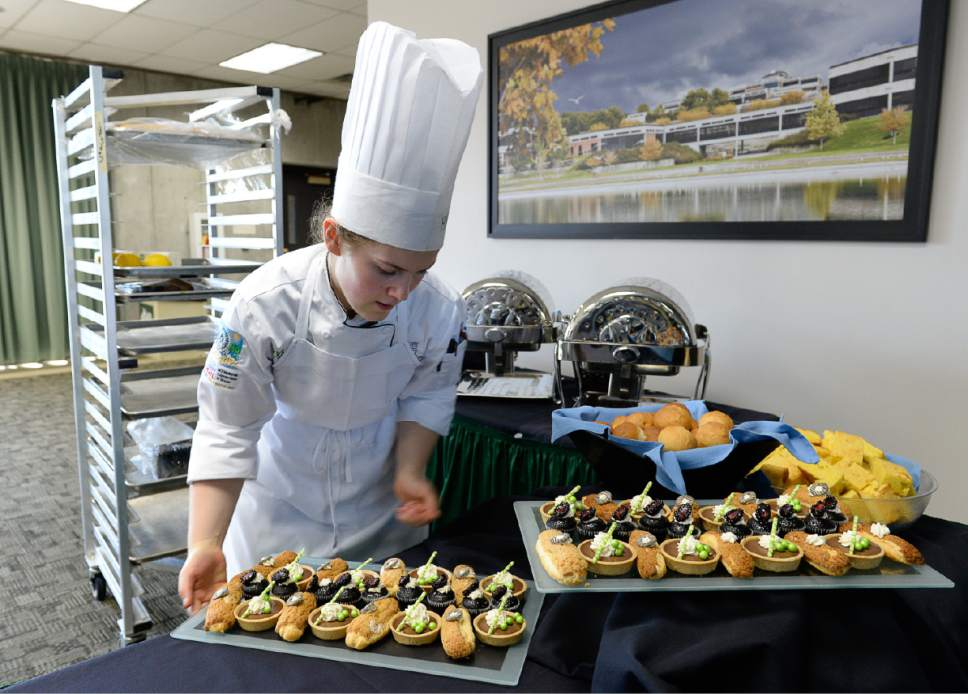 Francisco Kjolseth | The Salt Lake Tribune Working a public luncheon at UVU, culinary student Madeline Black pays attention to detail and presentation as she sets up for a recent event. She and other students are hired on to cook and run the kitchens to give them even more experience before graduating.