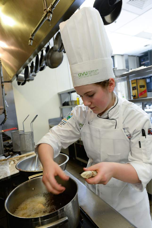 Francisco Kjolseth | The Salt Lake Tribune Constantly practicing, Madeline Black, a 19 year old Utah Valley University culinary student applies her knowledge in the school kitchen as she prepares for a public luncheon recently. Black won the top honor of a student chef last week from the American Culinary Federation's Student Chef of the Year. She is the second UVU student to win the title in the last two years and one of about six students to get to nationals int he last decade.