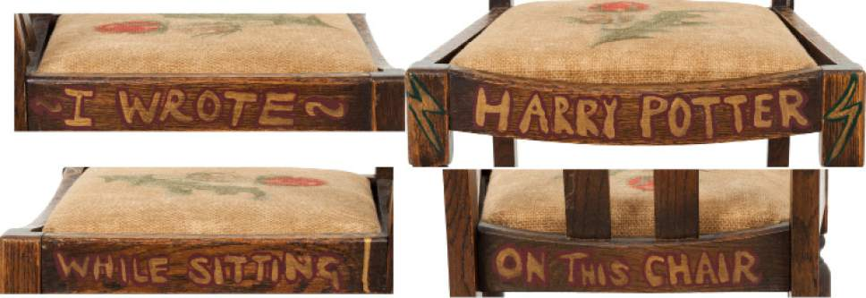 "This undated photo provided by Heritage Auctions shows details of the chair that J.K. Rowling sat on while writing the first two books of the Harry Potter series.  The chair, one of four old chairs a friend gave the starving artist when she began writing ""Harry Potter and The Sorcerer's Stone"" in 1995, is going on the auction block in New York City on April 6 with an opening bid of $45,000. (AP Photo/Heritage Auctions, Joseph Schroeder via AP)"
