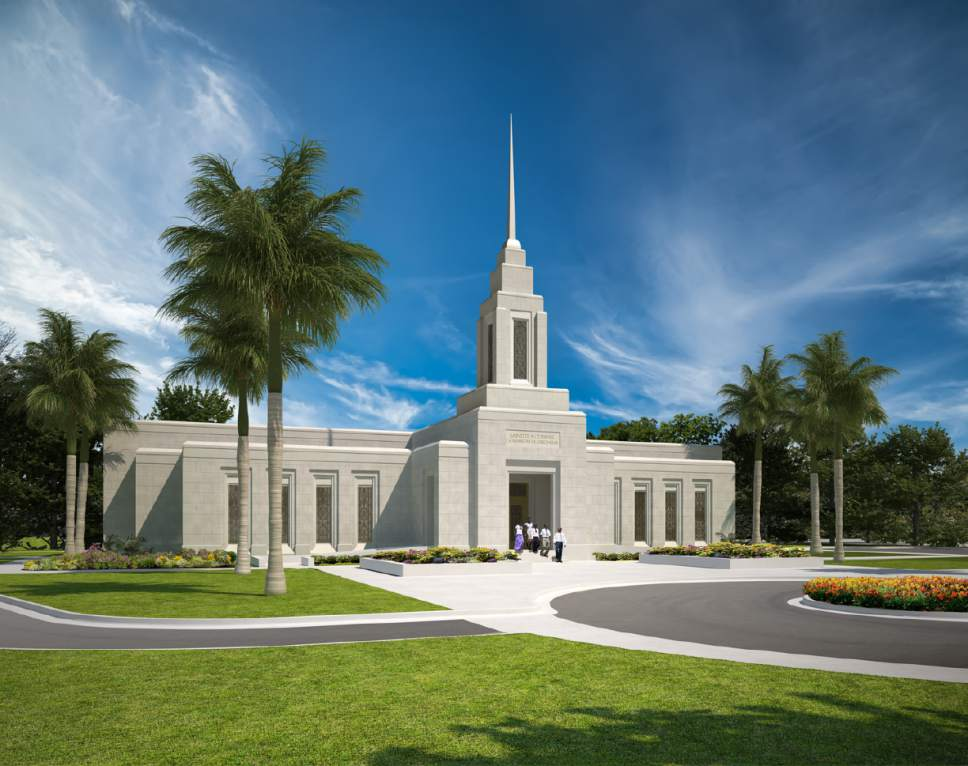 |  Courtesy LDS Church   Port-au-Prince Haiti Temple rendering.