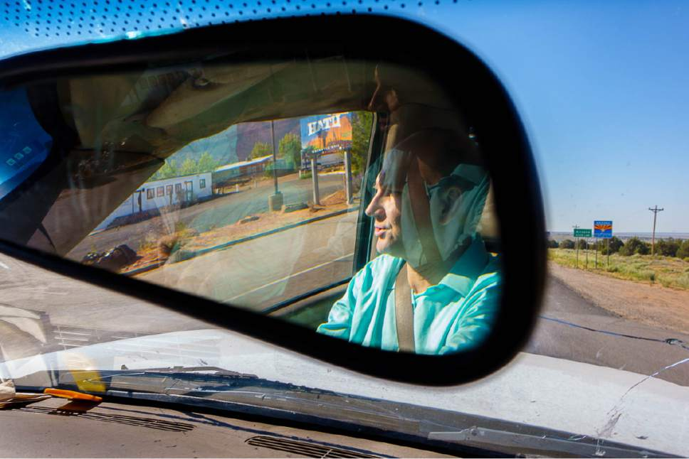 Trent Nelson     The Salt Lake Tribune Gabriel Owen crosses the Utah-Arizona state line on his way to deliver three tons of potatoes to members of the FLDS polygamous sect in Colorado City, Ariz., Saturday July 15, 2017. Owen and the Davis County Cooperative Society have been offering service and donations to needy FLDS members who were evicted from UEP homes in Hildale and Colorado City, Ariz.