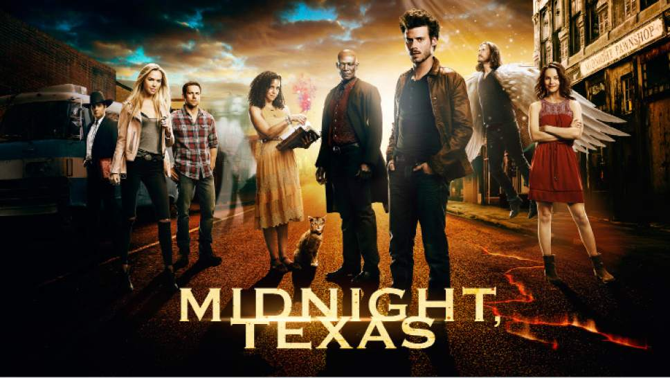 "Yul Vasquez, Ariel Kebbel, Dylan Bruce, Parisa Fitz-Henley, Peter Mensah, Francois Arnaud, Jason Lewis and Sarah Ramos star in ""Midnight, Texas."" Courtesy NBC Universal"