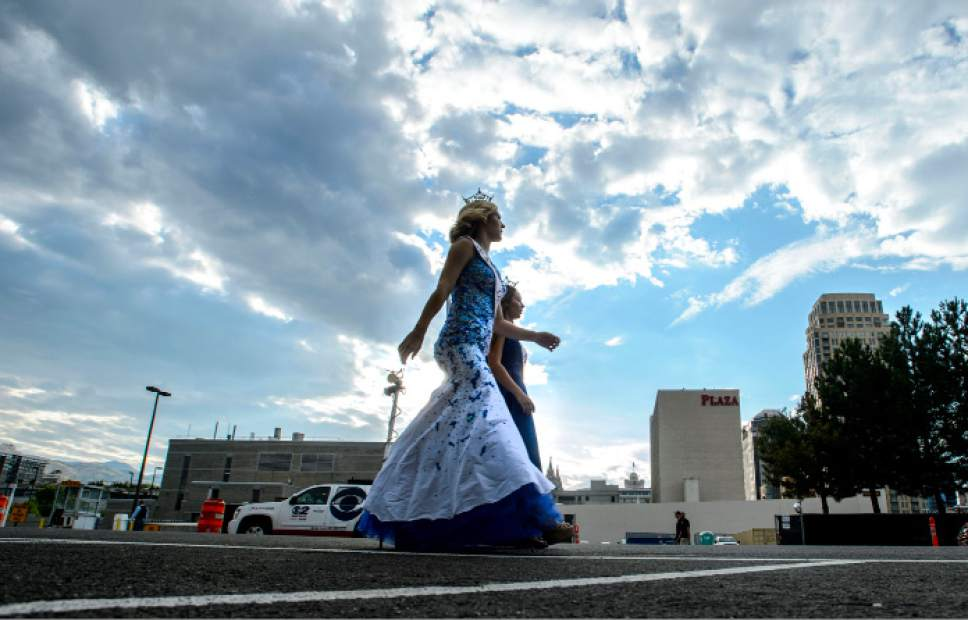Steve Griffin     The Salt Lake Tribune   Royalty participants walk to the start of the Days of '47 Parade in Salt Lake City on Monday, July 24, 2017.
