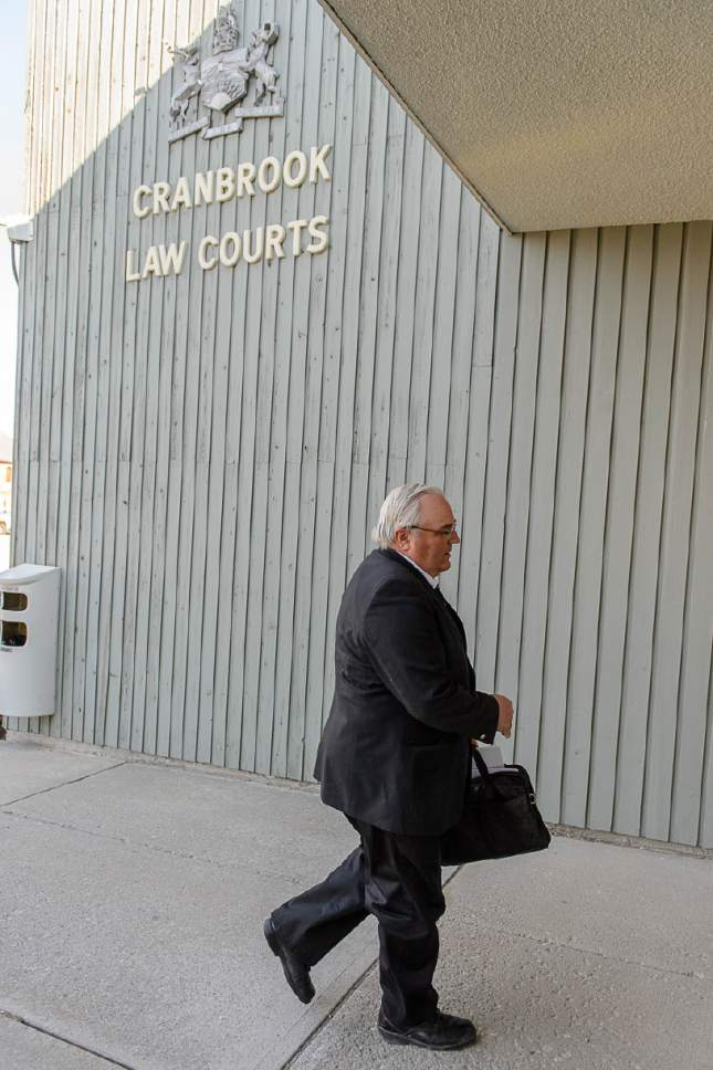 Trent Nelson  |  The Salt Lake Tribune Winston Blackmore arrives at court in Cranbrook, B.C., Wednesday April 19, 2017. Blackmore and co-defendant James Oler are the first fundamentalist Mormons to be tried for polygamy in Canada.